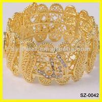 2013 new design allah bracelets with 24k gold plating crystal stone bangle