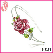 Top sale colorful crystal flower headband for girls