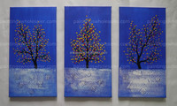 100% Handmade Original Triptych abstract modern oil painting on canvas 3D Money Tree Blue Sky Textured