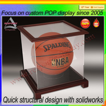 basketball/ football display case acrylic box with wood base