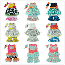 hot sale Toddler Girls persnickety clothing set Newest Design Floral Ruffle girls Boutique outfit kids clothes 2015