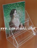 3 tiers clear acrylic brochure holder standee, acrylic display rack