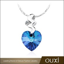 OUXI heart shaped blue Aus Crystal&Zircon fashion jewelry manufacturer china 11458-1