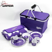 600D Polyester Eco-friendly Purple Folding Colth Shopping Basket