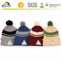 Custom Crazy pom pom winter hats with white leather logo