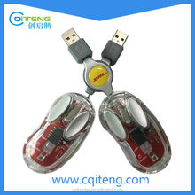 Transparent Wired Mouse With Retractable Cable Mini Mouse