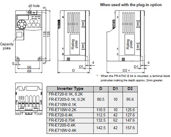 FR-E720-0.75K dimensions