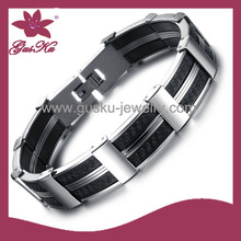 2015 STLB-076 unique cheap Mens Bracelets Leather Jewelry, Braided Stainless Steel Clasp Bracelet