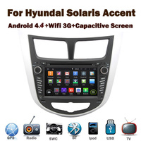 Pure Android 4.4 Car DVD Player for Hyundai Solaris Verna Accent with Wifi 3G GPS Bluetooth Radio RDS USB IPOD Steering wheel