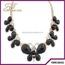 2015 Fashion jewelry kinds of color acrylic butterfly shaped necklace