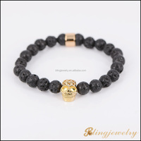High quality natural stone bead bracelet with 925 silver skull charm