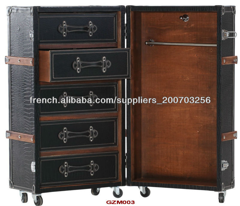 antique malle armoire en simili cuir croco noir mat garde robe id du produit 500000728589 french. Black Bedroom Furniture Sets. Home Design Ideas