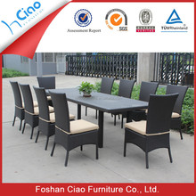 Restaurant dining table and chair rattan furniture set for 10 people