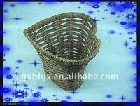 Seagrass wire heart shaped storage decorative waste paper baskets