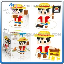 Mini Qute Lele Brother 3 in 1 one piece Monkey D Luffy plastic building blocks brick cartoon educational girls gift toy NO.6138