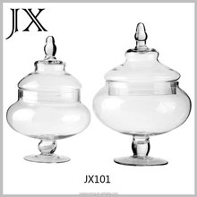 large clear antique glass candy fruit storage jars with round basement