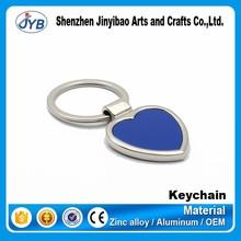 custom made metal heart shape blank keychain