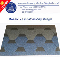 alibaba china manufacturer mosaic hexagonal asphalt shingle price, roofing shingle price, roof tile price