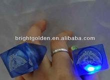 Custom silicone led finger ring imprinted rectangular shape