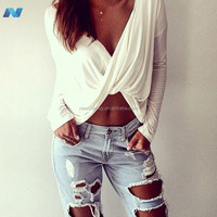 Sexy Women Deep V k Cross Crop Top Blouse Casual Clubwear T-Shirt