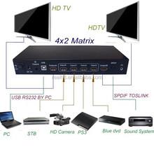 4 Input 2 Output HD Matrix Switch With IR / RS232 VGA RCA