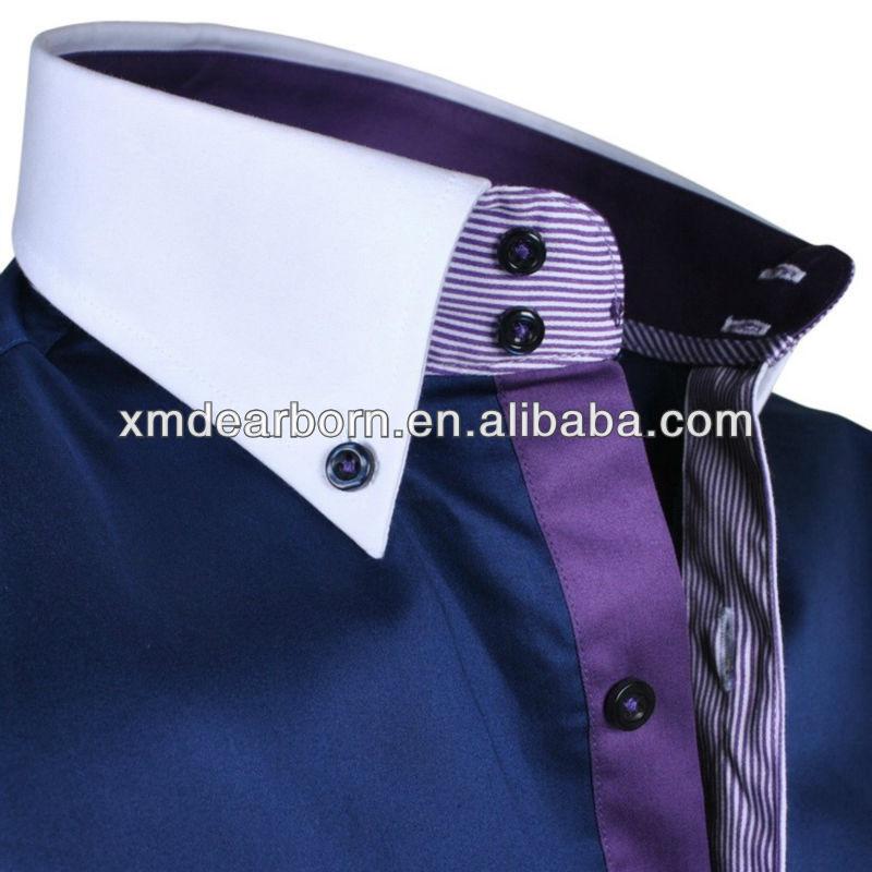 dress shirt, navy blue dress shirt with white collar, View blue dress ...
