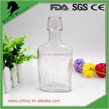 300ml Embossed Square Swing Top Glass Bottle for Juice