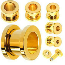 Hot Sale 316l Gold Plated Large Gauge Ear Tunnel Stretchers Plug Piercing Jewelry