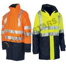 high visibility warning Reflective safety raincoat