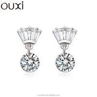 OUXI love to share zircon ball white crystal with silver stud earrings Y20101