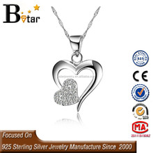 2015 new product heart shaped pendant sterling silver jewelry