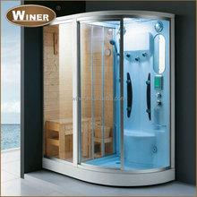 Luxury glass door acrylic computer control home sauna steam room combination