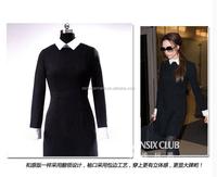 2015 woman dress star new design slim ladies fashionable cotton stand collar dress
