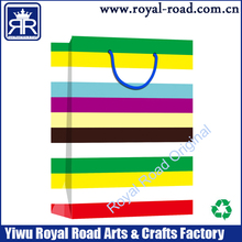 colorful rianbow stripe printed paper shopping bag 2015 good sale