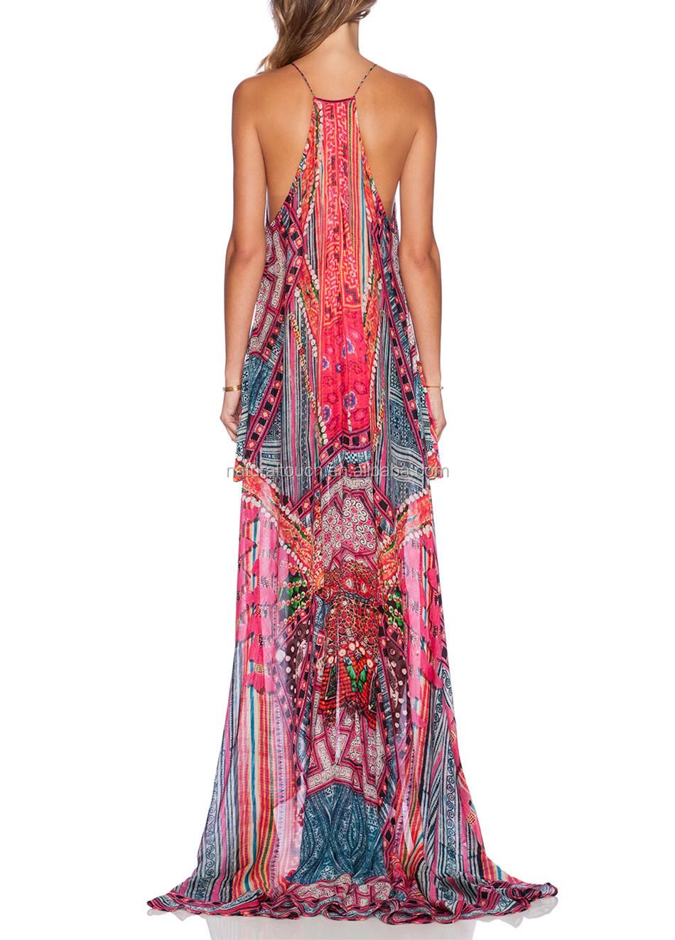 High Fashion Women Printed Long Style Hawaiian Dress For