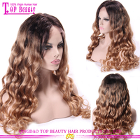 150% Density Brazilian Human Hair Wavy Lace Front Wig Middle Party Crazy Two Color Wigs For Black Women