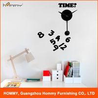 Time wall clock sticker pendulum clock diy stylish quartz analog wall pendulum clock