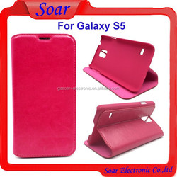 Fashion design crazy horse flip cover case for Samsung galaxy S5,pouch leather case for Samsung galaxy S5