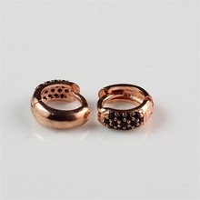 Amazing Latest Fashion Black Zircon Inlay Nice Pictures of Gold Earrings Jewelry