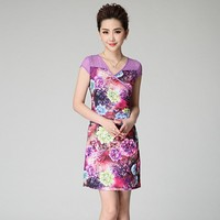 AA008 Hot Fashion Mature Adult Top-end Rhinestone V-neck Floral Women Dress