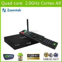 Zoomtak M8 live stream android tv box xbmc/KODI pre-installed media player google 4.4 internet tv box quad core 4k OTT tv box