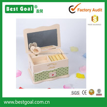 Owl design wooden jewelry box with mirror and drawer