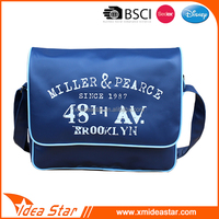 Blue personality letter printed good quality pu leather student shoulder bag