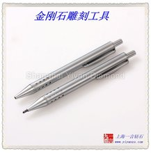 Fiber optic scribe of Natural Diamond with a 60- 90 degree conepoint, set in a deluxe retractable metal pen