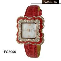 square diamond case fashion lady leather watch