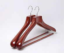 Luxury Wide Shoulder Wood Suit Hanger with Non Slip Locking Trouser Bar,Reddish Brown Color