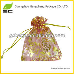 High quality with reasonable price popular design printed logo organza gift bags
