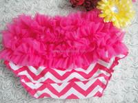 baby girls hot pink chevron ruffle bloomers cotton ruffle girl shorts baby bloomers wholesale infant bloomers