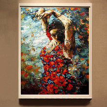 Free Shipping High Quality Impression Hand-painted Portrait Oil Painting Brunette Spanish Dancer Flamenco Dancer Oil Painting