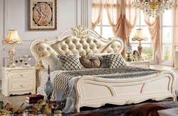 #685 elegant antique french style white solid wood European style carved classic king size master bedroom royal home furniture